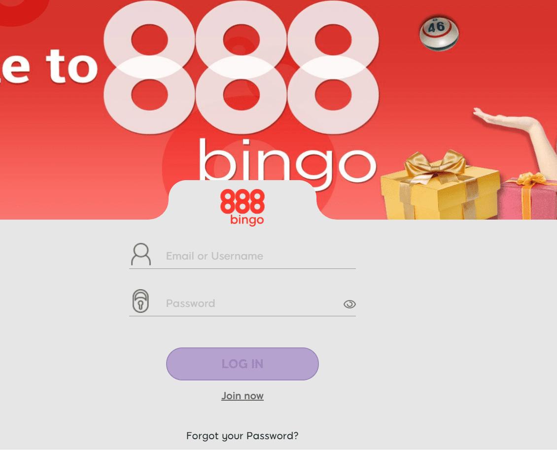 888 Bingo login page