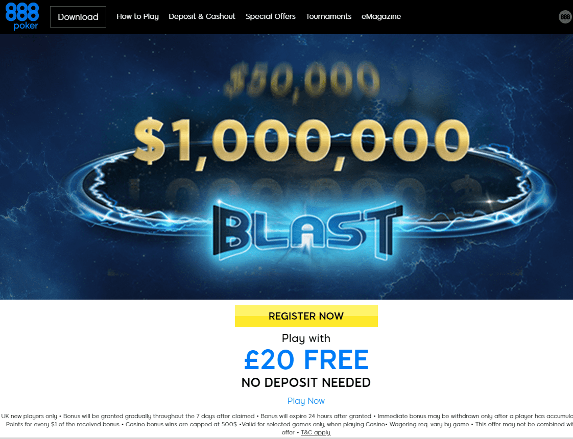 888 Poker home page