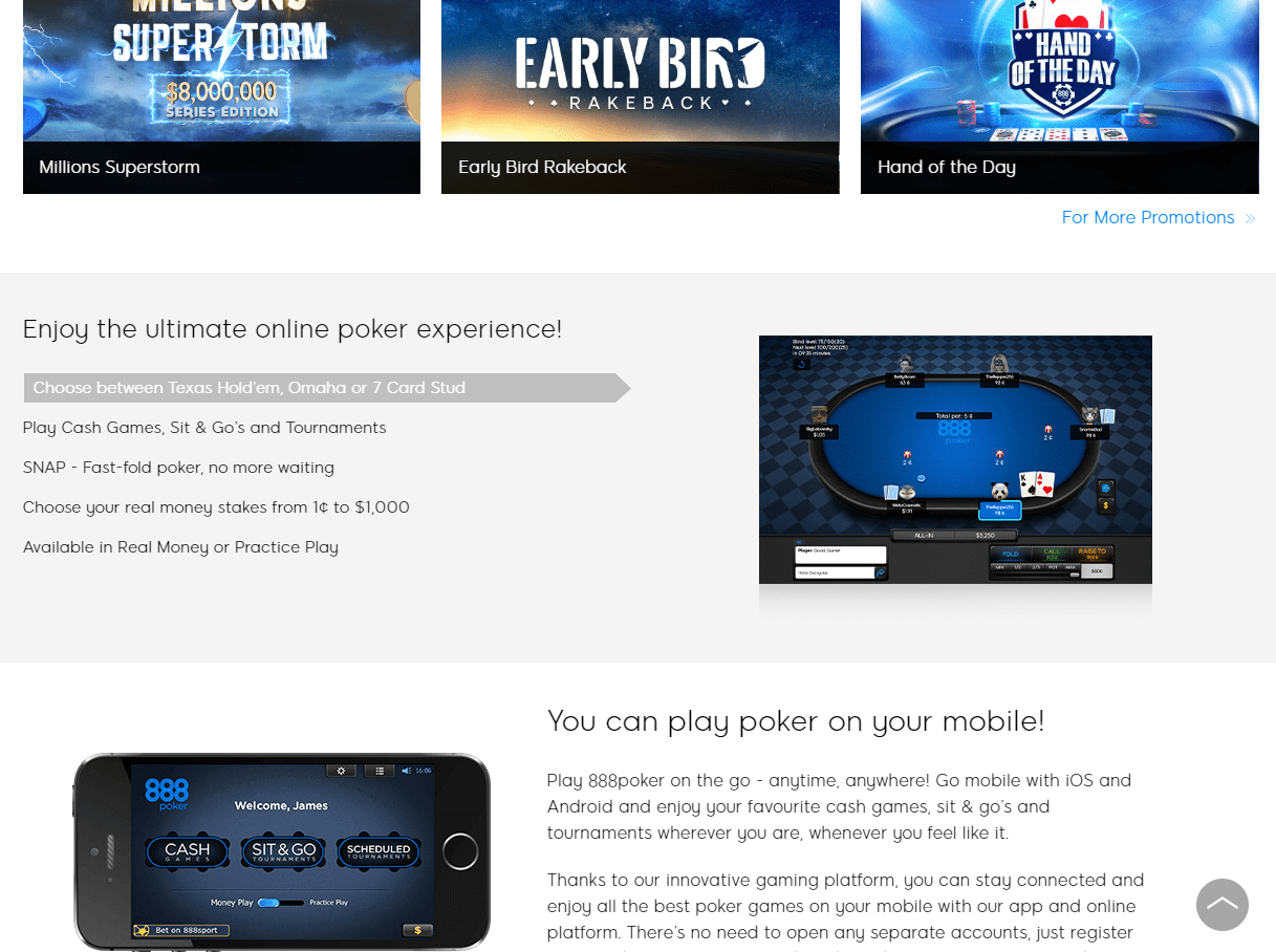 888 Poker games page