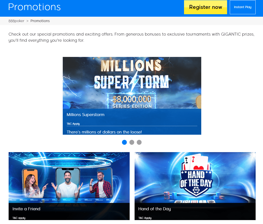 888 Poker promotions page