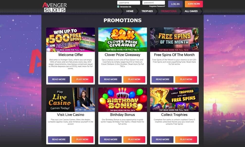 Avenger Slots promotions