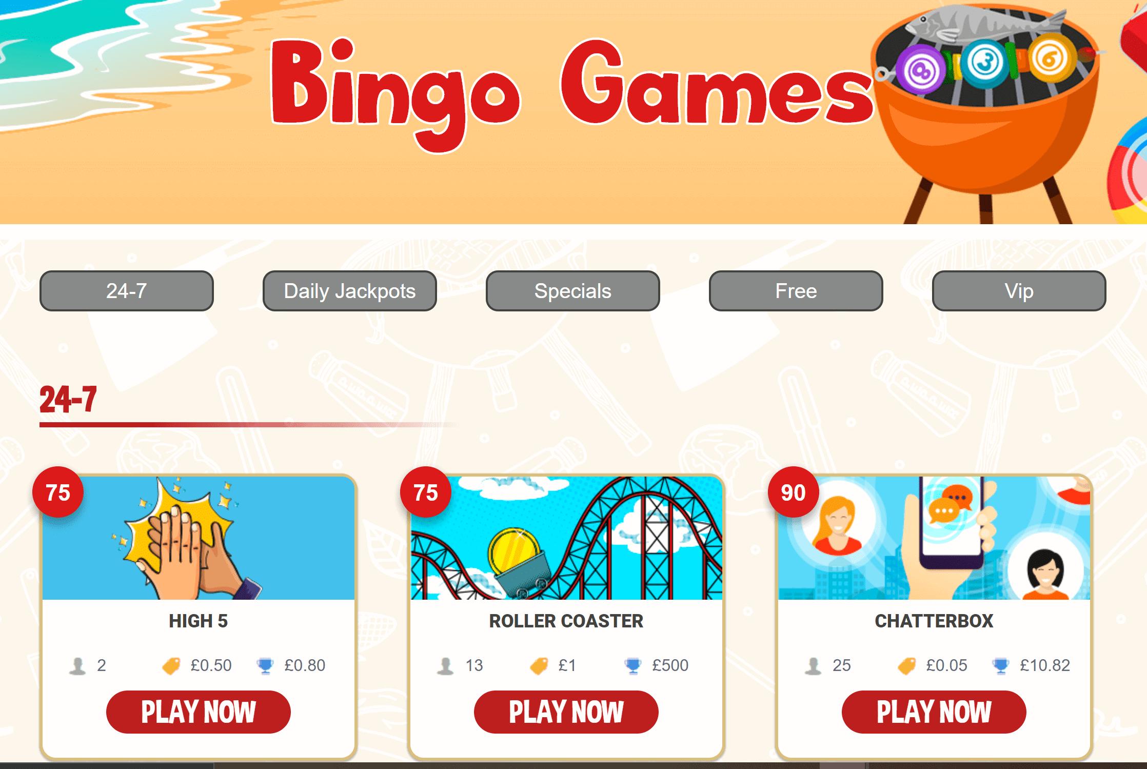 888 Bingo games page