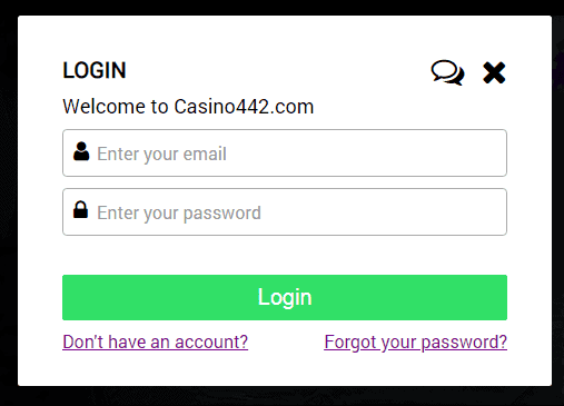 Casino 442 Log In Page