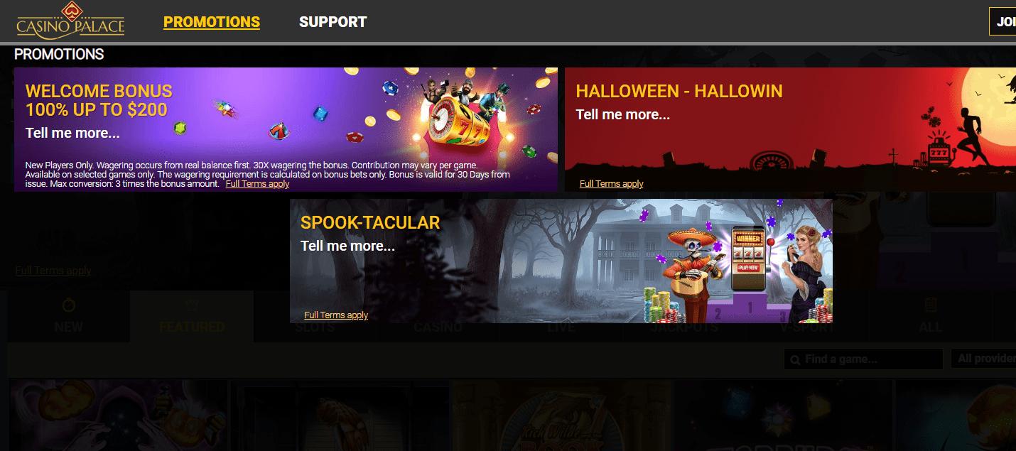 Casino Palace Promotion page