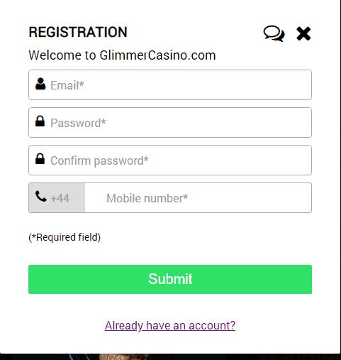 Glimmer Casino Registration