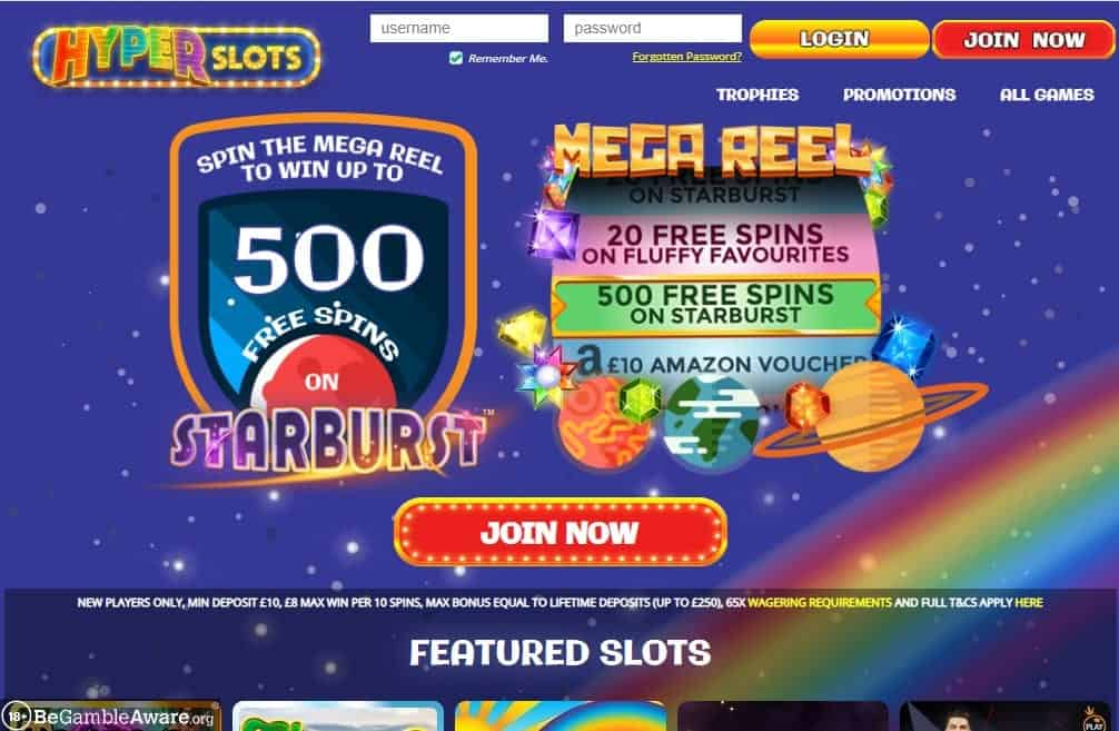 Hyper Slots home page