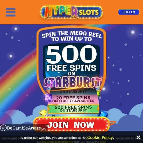 Hyper Slots mobile home page