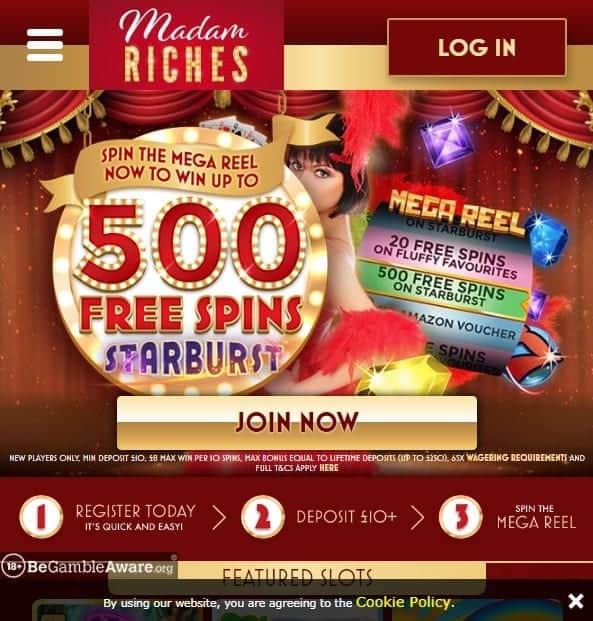 Madam Riches mobile home page