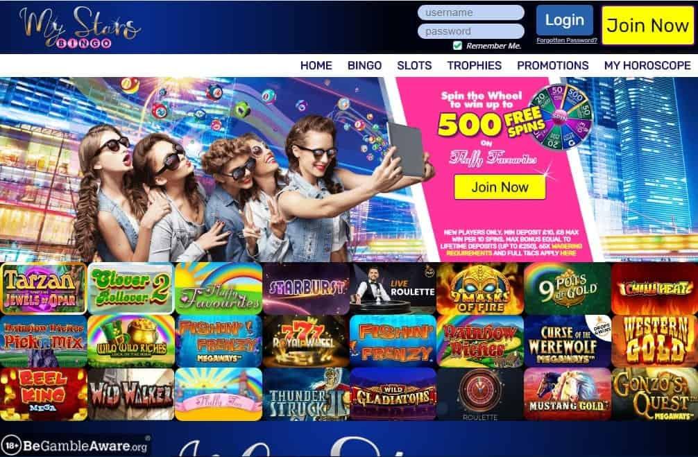 My Stars Bingo home page