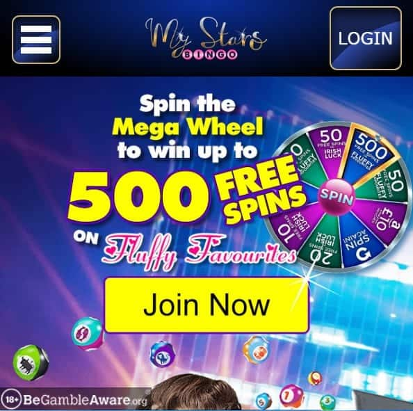 My Stars Bingo mobile home page