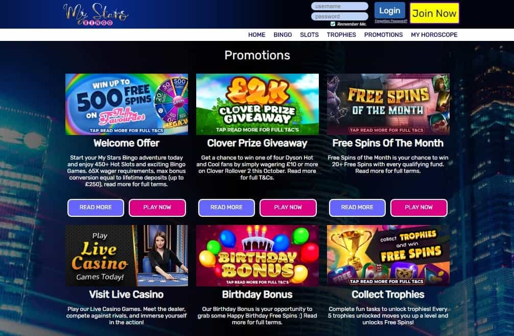 My Stars Bingo promotions