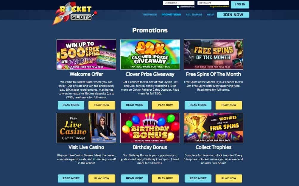 Rocket Slots promotions
