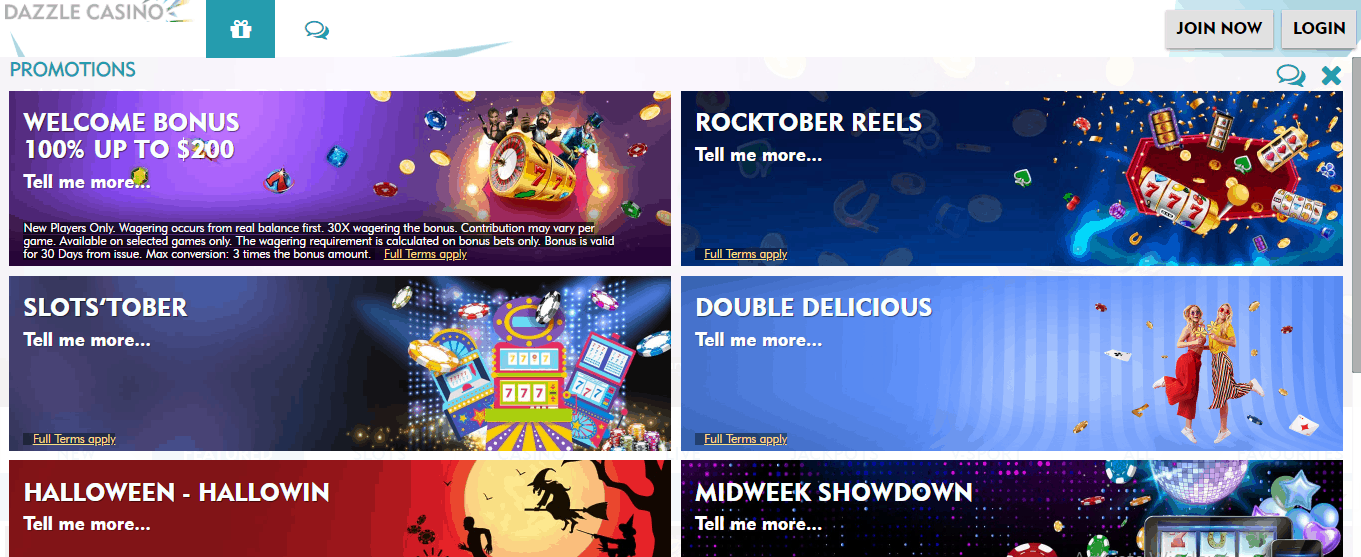 Dazzle Casino promotional page