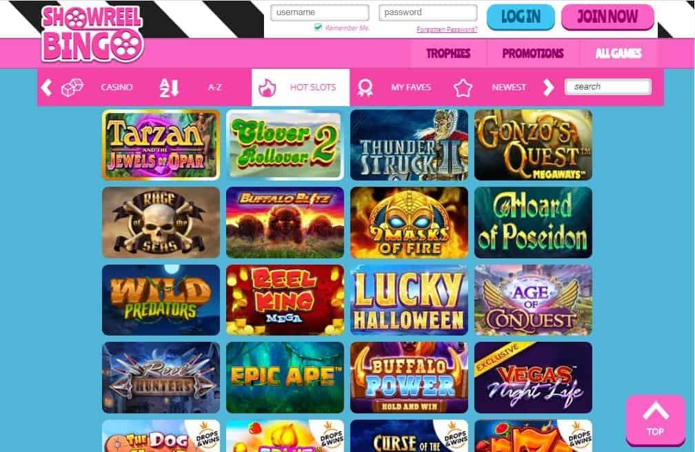 Show reel Bingo games