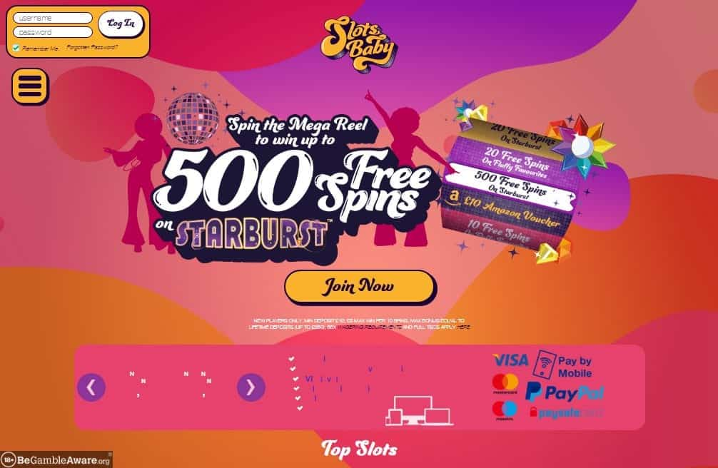 Slots Baby home page