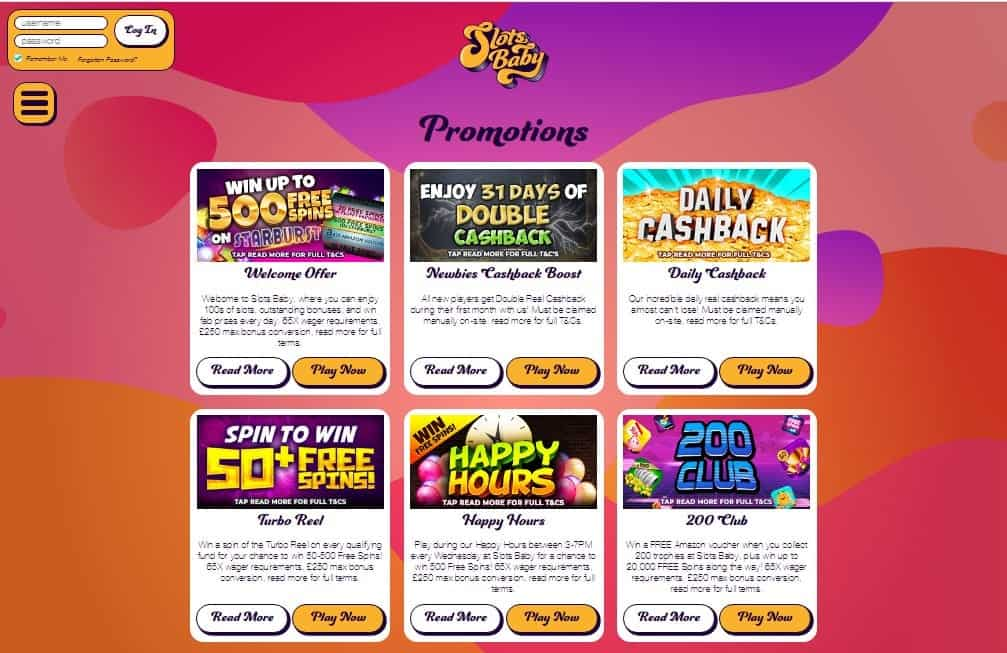 Slots Baby promotions