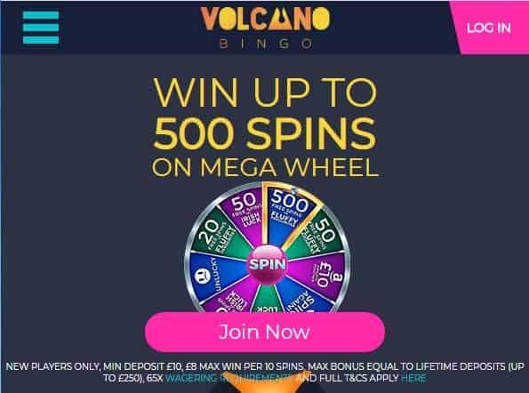 Volcano Bingo front page