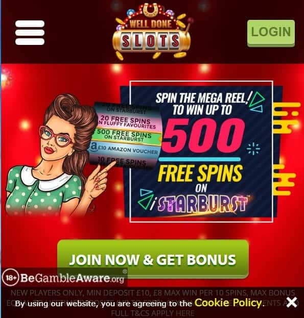 Well Done Slots mobile home page