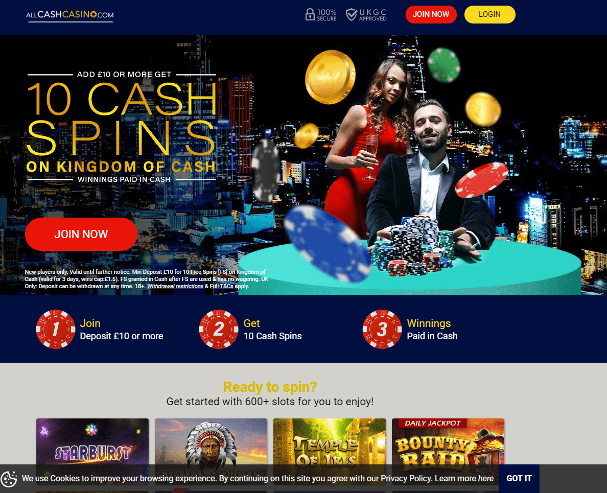 All Cash Casino home page