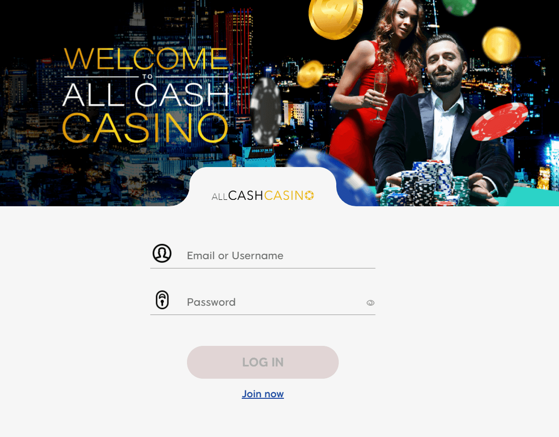 All Cash Casino login page