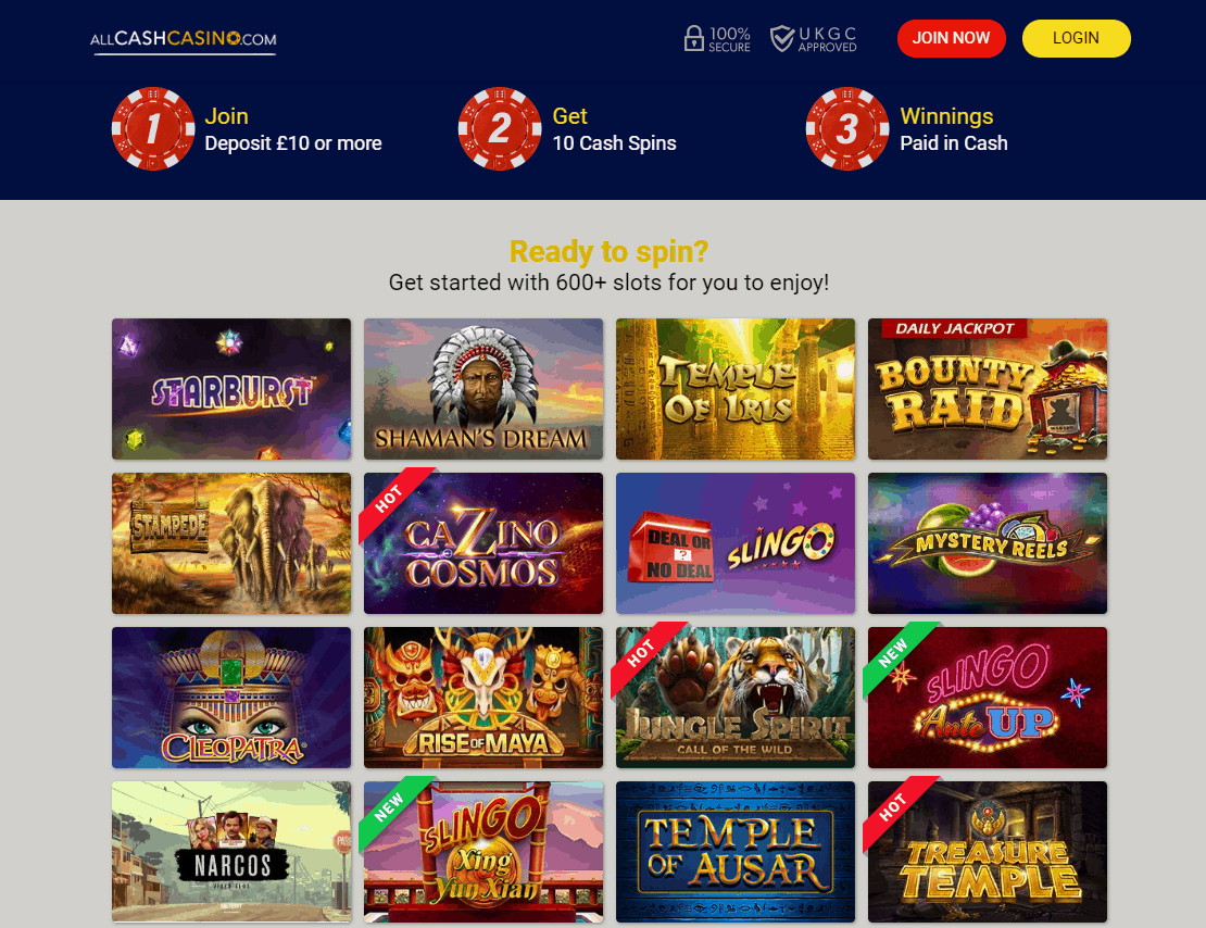 All Cash Casino promotions page
