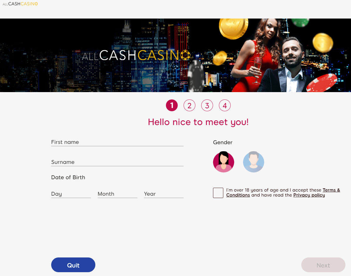 All Cash Casino sign up page