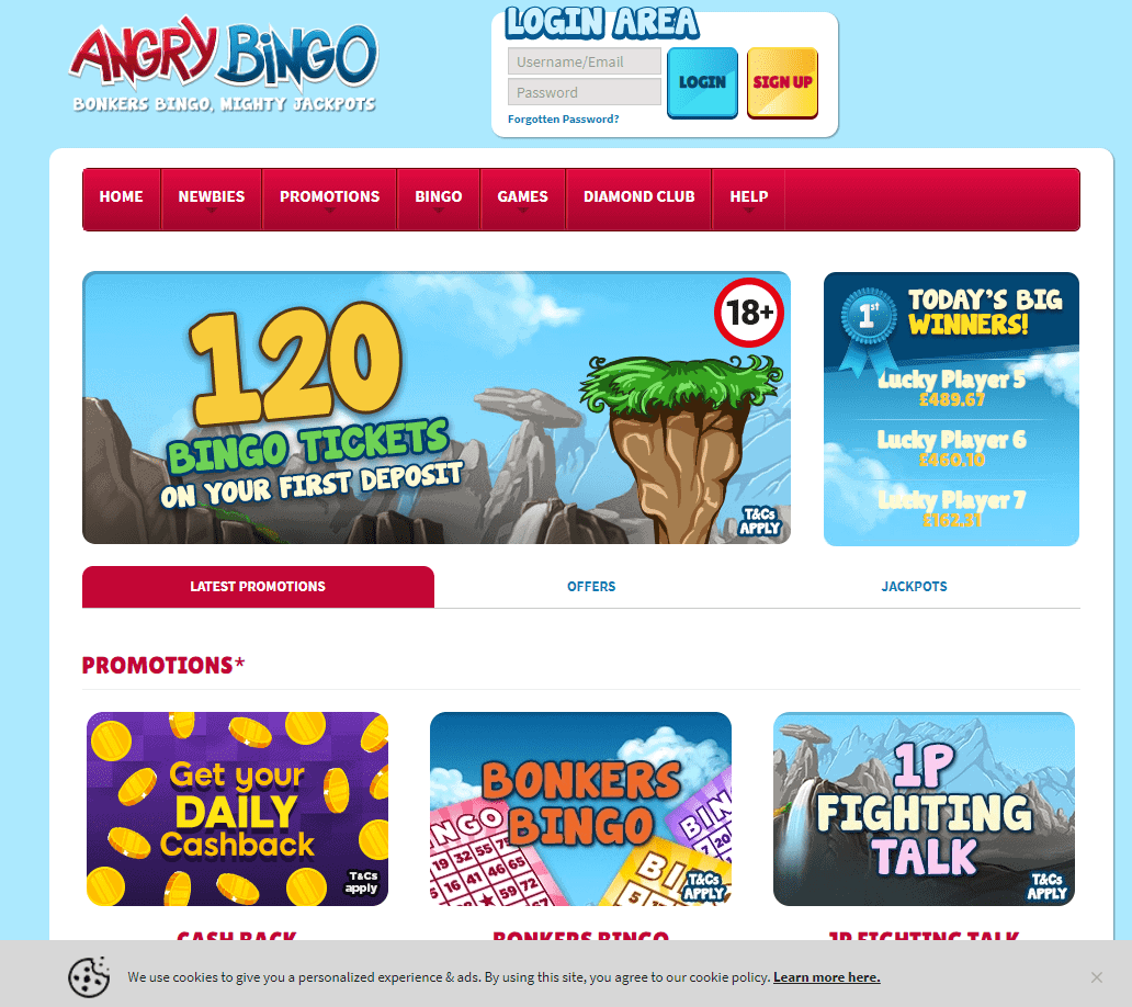 Angry Bingo promotions page