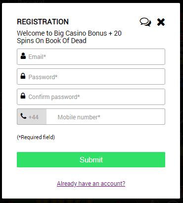 Big World Casino Registration