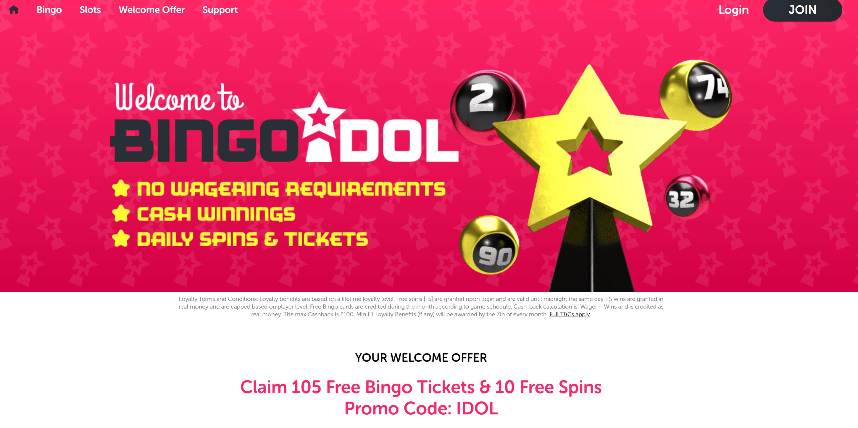 bingo idol home
