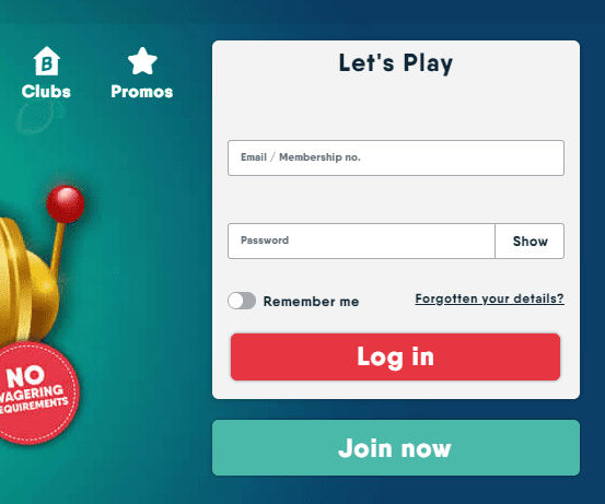 Buzz Bingo login page