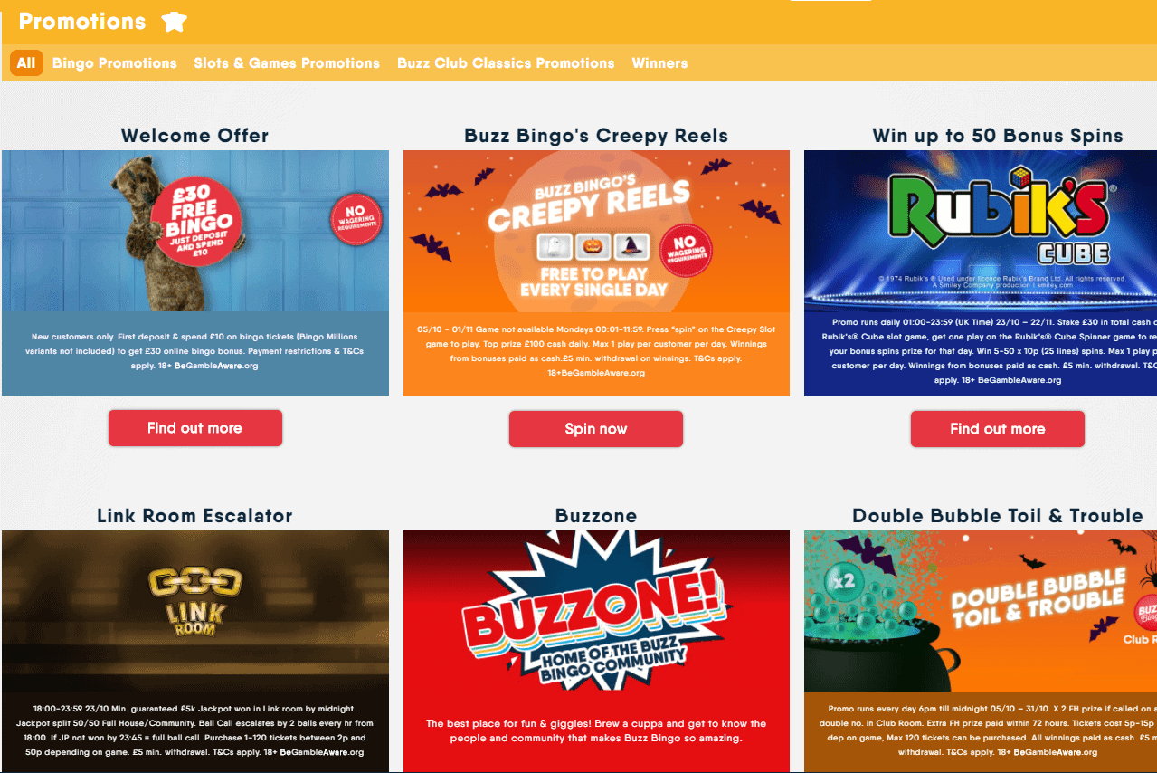 Buzz Bingo promotions page