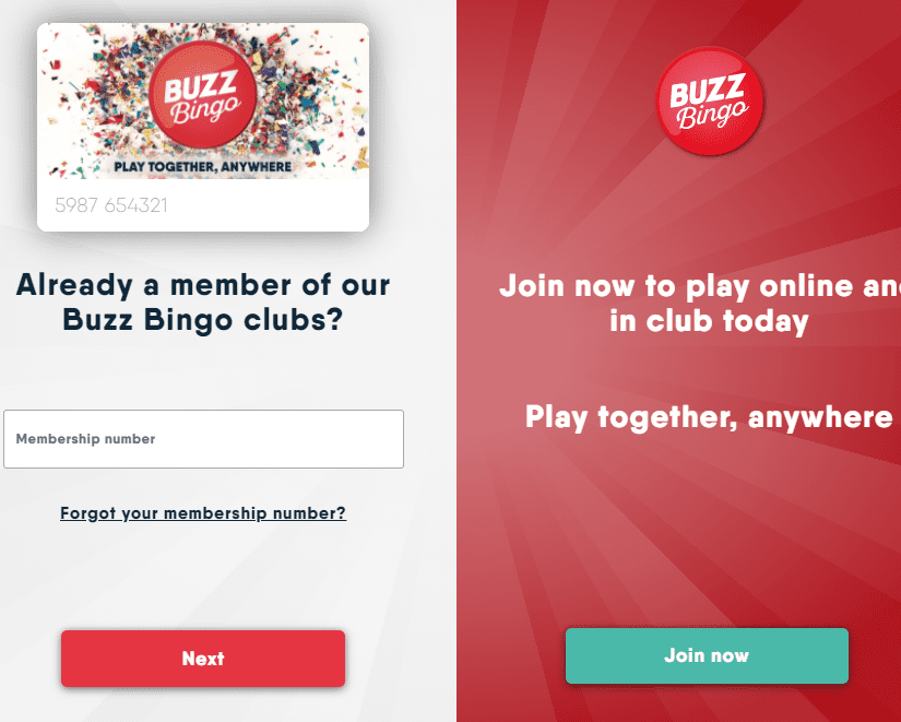Buzz Bingo sign up page