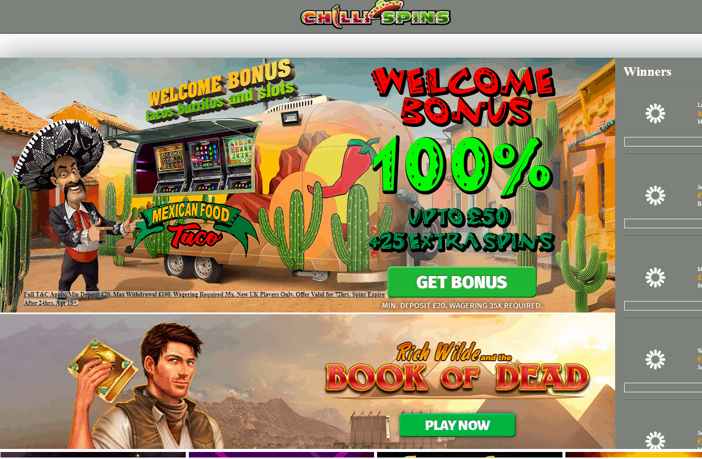 Chilli Spins Home Page