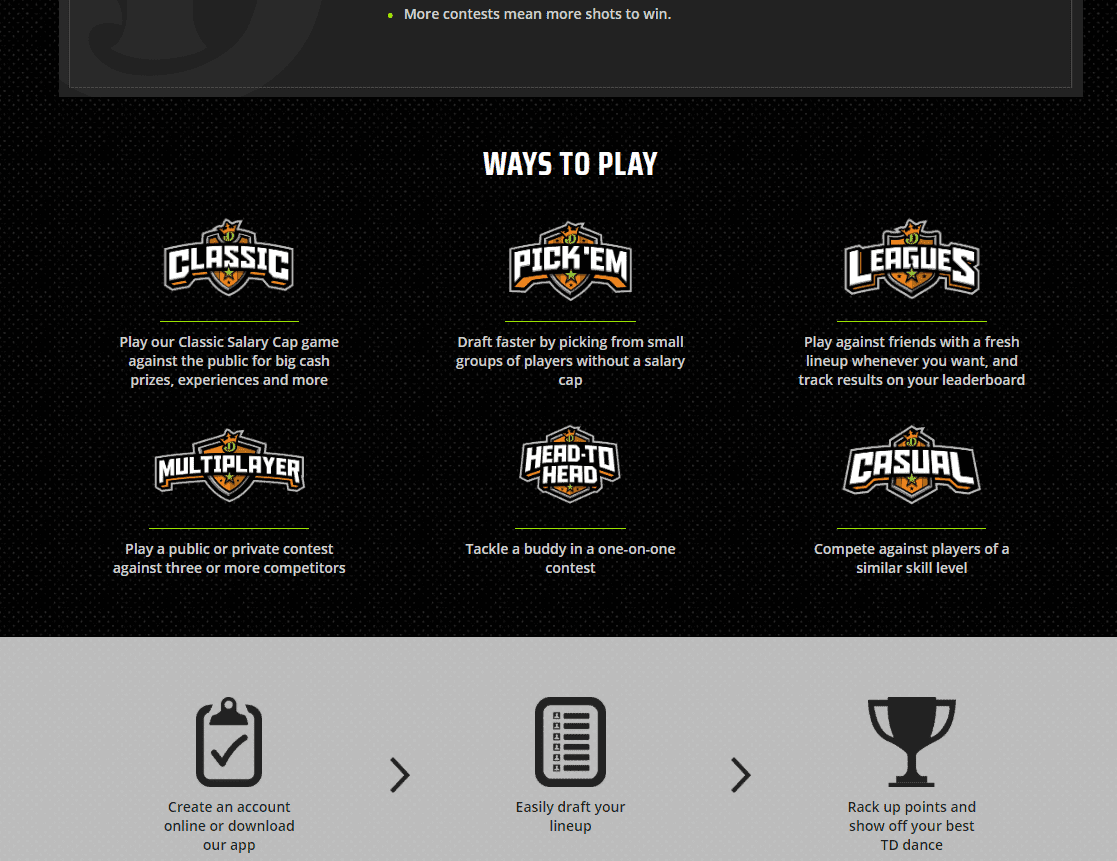 Draft Kings games page