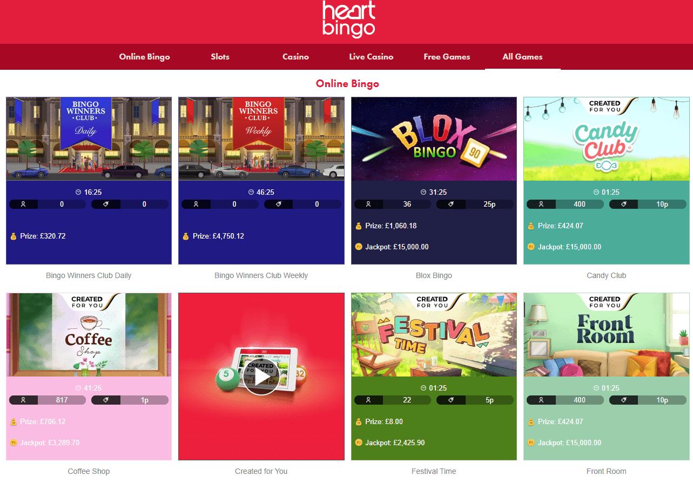 Heart Bingo games page
