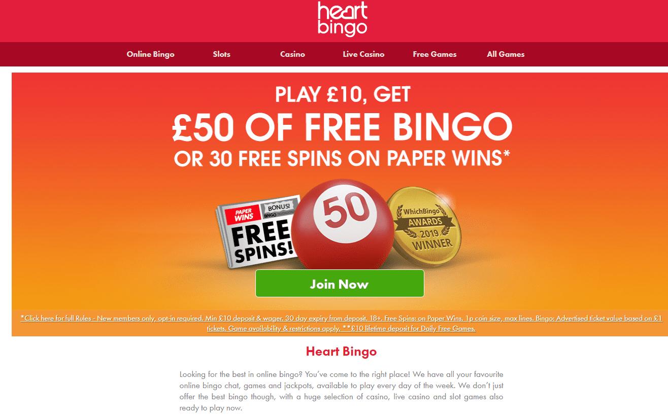 Heart Bingo home page