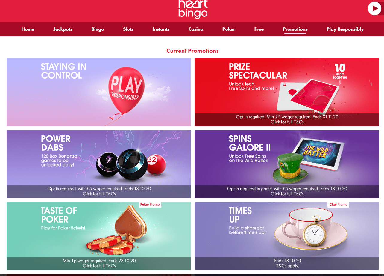 Heart Bingo promotions page