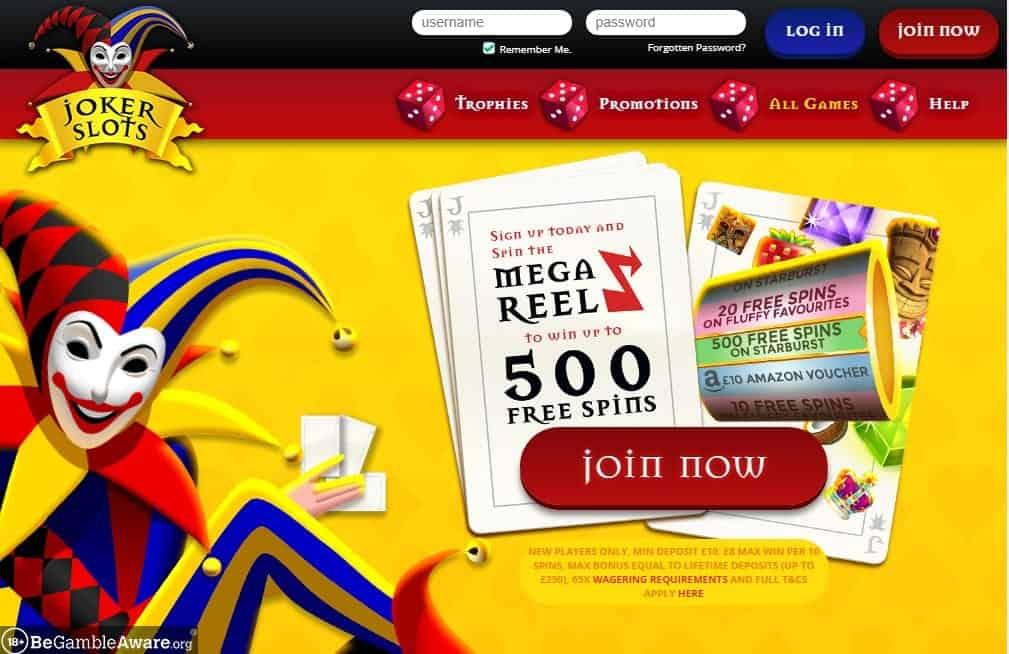Joker Slots home page