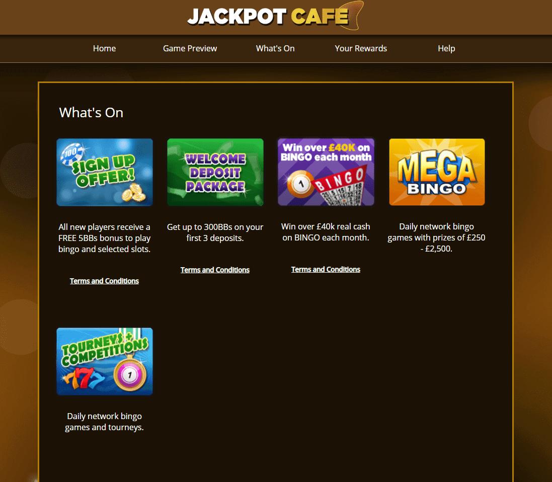 Jackpot Cafe promotions