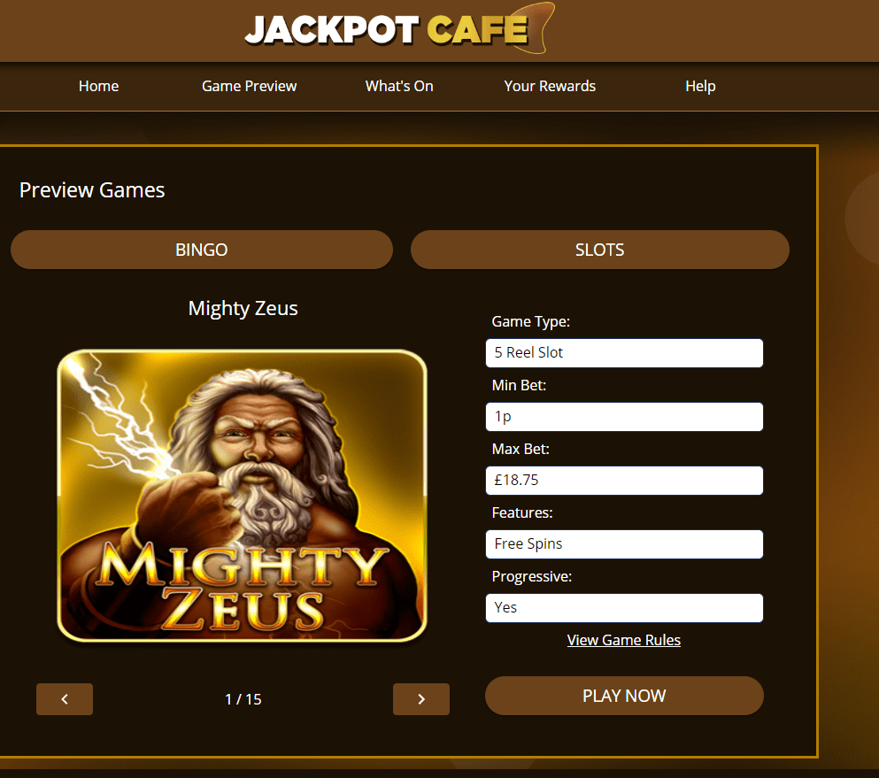 jackpot cafe games page