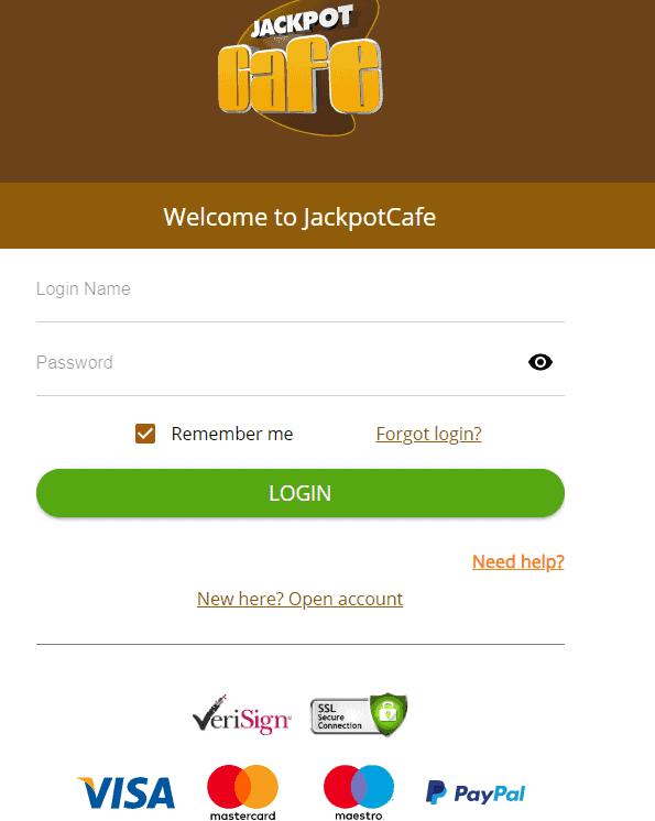 jackpot cafe login page