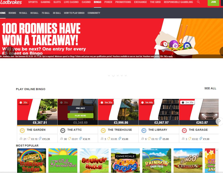 Ladbrokes Bingo home page