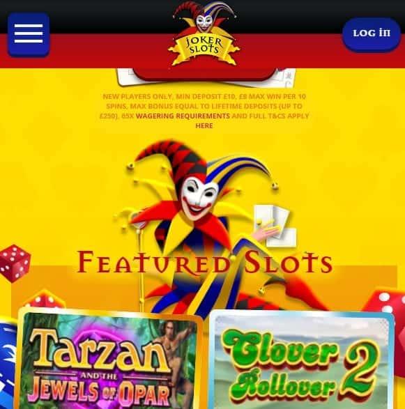 Joker Slots homepage