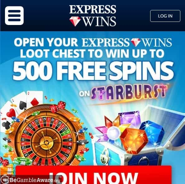 Express Wins mobile home page