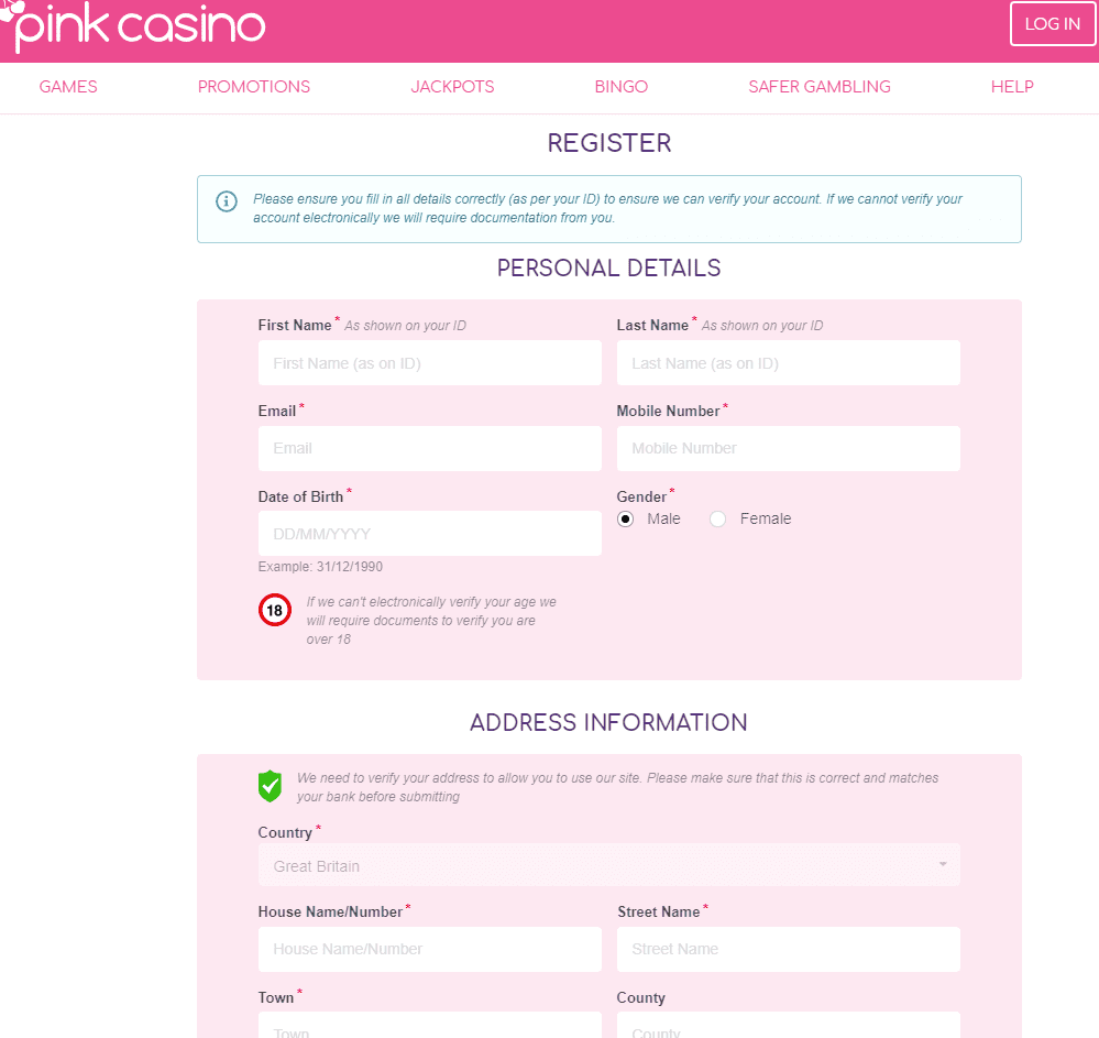 Pink Casino sign up page