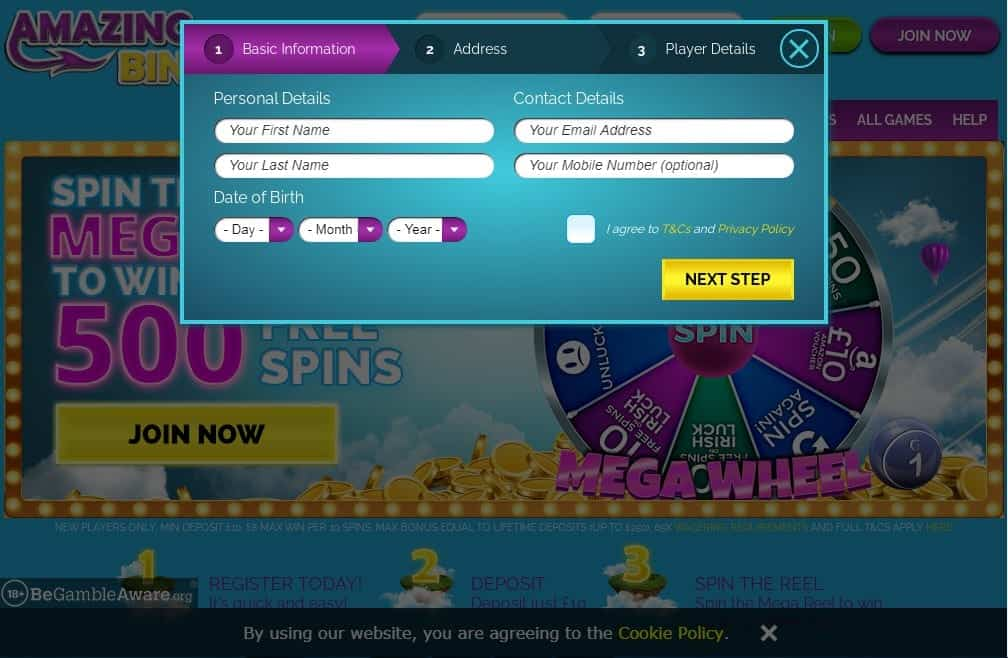 Fluffy Spins sign up page