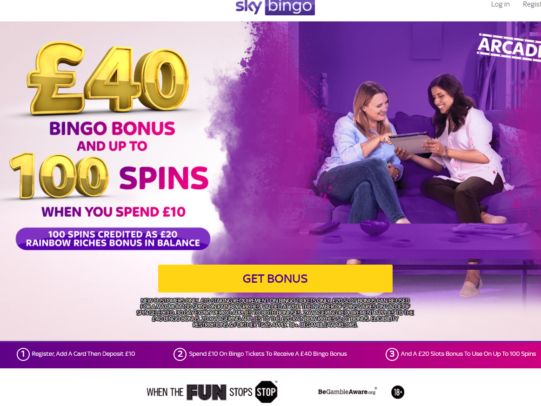 Sky Bingo home page