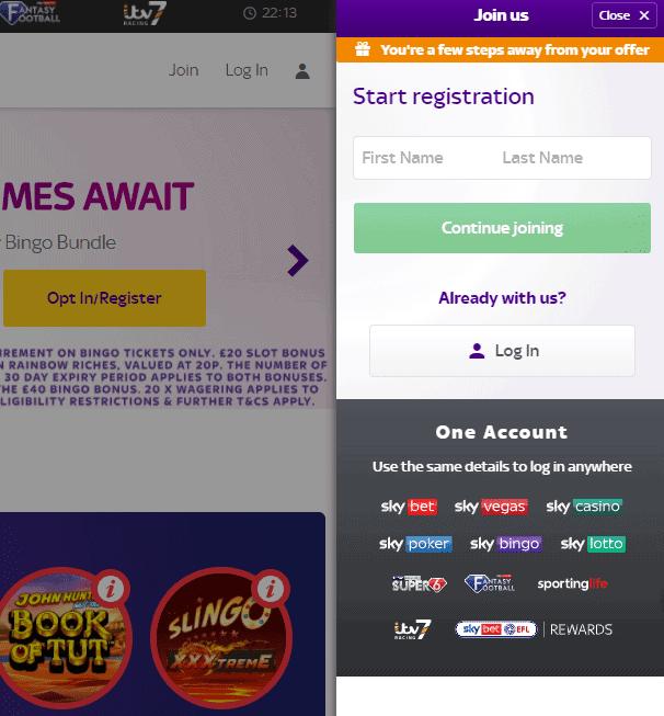 Sky Bingo sign up page