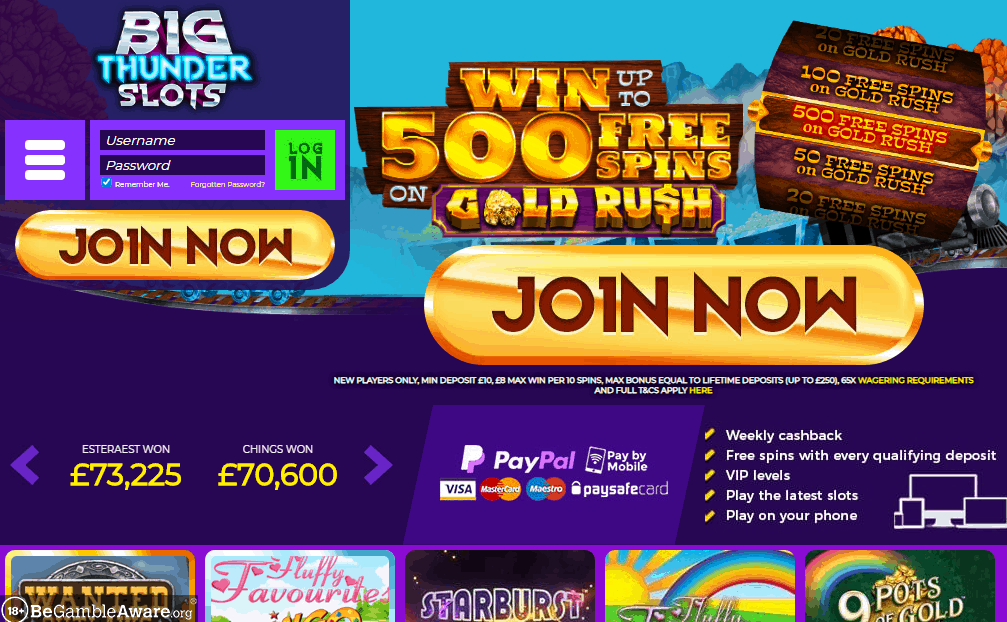 Big Thunder Slots home page