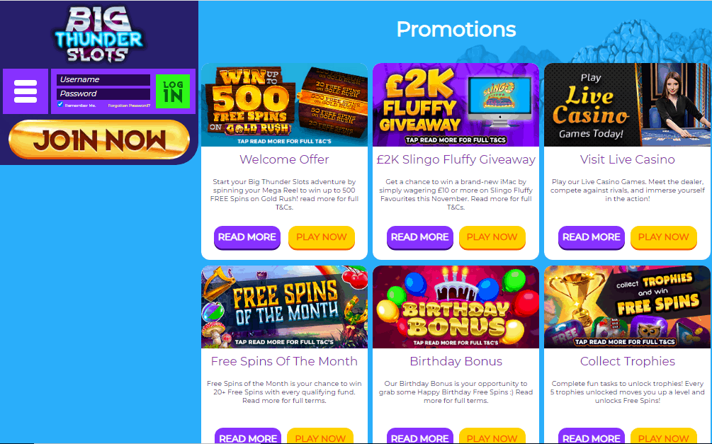 Big Thunder Slots promotions